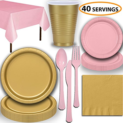 Disposable Party Supplies, Serves 40 - Gold and Light Pink - Large and Small Paper Plates, 12 oz Plastic Cups, heavyweight Cutlery, Napkins, and Tablecloths. Full Two-Tone Tableware Set ()