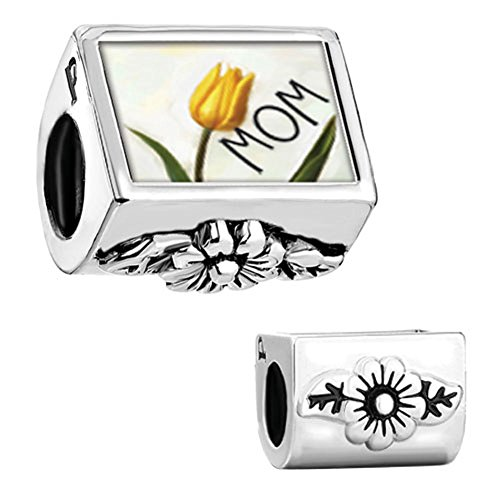 CharmSStory Mom Mother Charm Flower Yellow Tulip Photo Beads Charmss for Bracelets