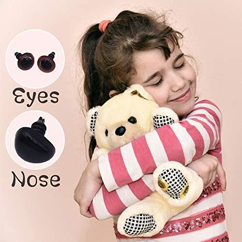 VGOODALL 560 STK. Puppenaugen Teddyaugen und Teddynase, Kunststoffaugen Puppe Auge mit Kulleraugen Selbstklebend für Puppe Teddybär Basteln DIY Scrapbooking Handwerk