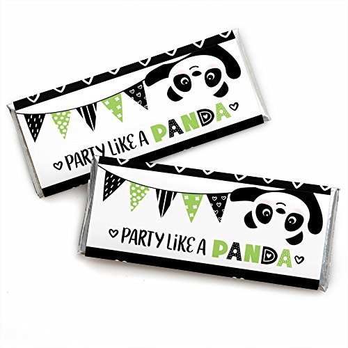 Party Like a Panda Bear - Candy Bar Wrapper Baby Shower or Birthday Party Favors - Set of 24