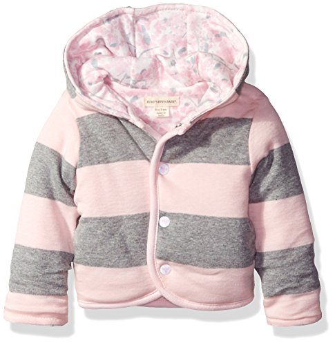 Burt's Bees Baby Girls' Organic Reversible Snap Front Jacket, Blossom, 3-6 (Organic Cotton Hooded Jacket)