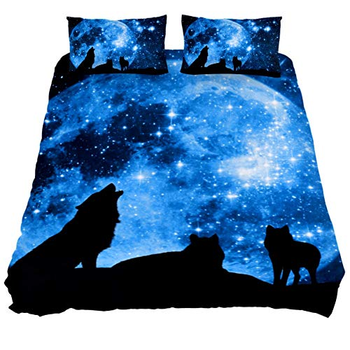 DEYYA Twin Size Microfiber Wolves Howling Print Duvet Cover and Pillow Shams 3 Piece Bedding Set with Zipper Closure and Corner Ties for for Teens,Boys and Girls