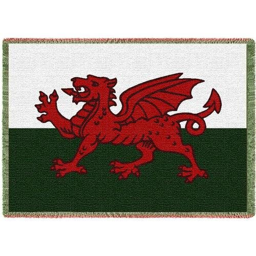 Pure Country Weavers   Welsh Dragon Flag of Wales Woven Throw Blanket with Fringe USA 70x50