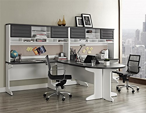 Ameriwood Home Pursuit U Shaped Desk With Hutch Bundle Gray Furniture Office Furniture