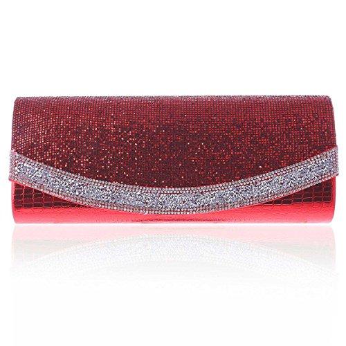 Womens Damara Sequins Red Texture Flap Evening Long Clutch dArAxw