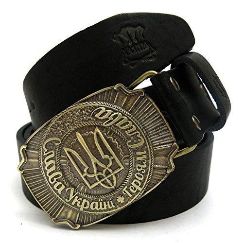 "Leather belt with Ukrainian brass buckle ""Glory to Ukraine! Glory to the heroes! """