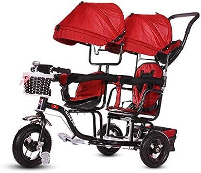 JHGK Triciclo para Niños, Carro De Parasol Doble con Ruedas De Titanio, Triciclo para Niños, Compras En Ciudad Doble De Acero con Alto Contenido De Carbono, Triciclo De Empuje Tricycle,2