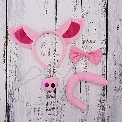 Calien Pig Ears Headband Nose and Tail Set Pig Costume Accessories - http://coolthings.us
