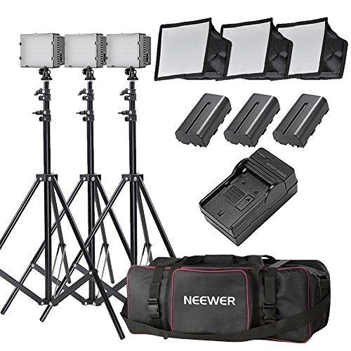Neewer 3-Pack CN-126 LED Video Light Lighting Kit for DSLR C