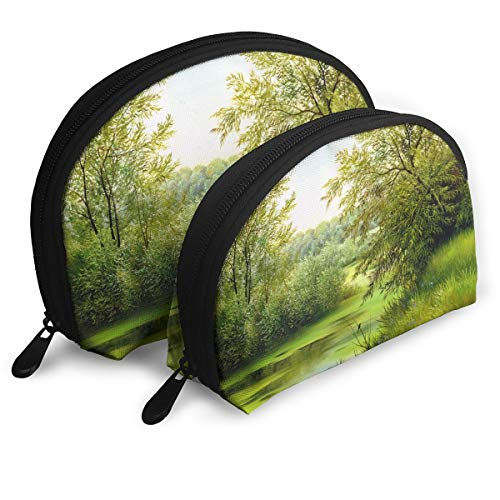 (Anonymous Guest Shell Shape Cute Nature Grassland Travel Cosmetic Bags Practical Bag with Zipper)