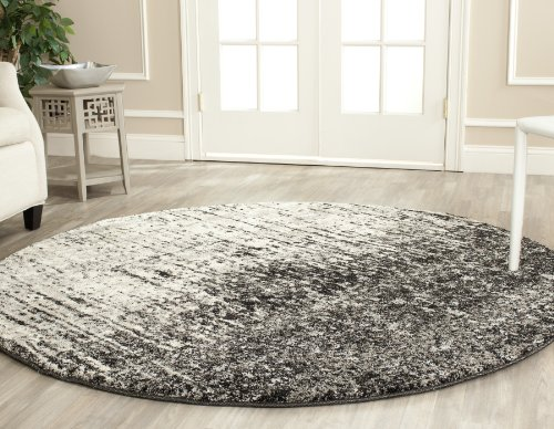 Safavieh Retro Collection RET2770-9079 Modern Abstract Black and Light Grey Round Area Rug (8' Diameter)