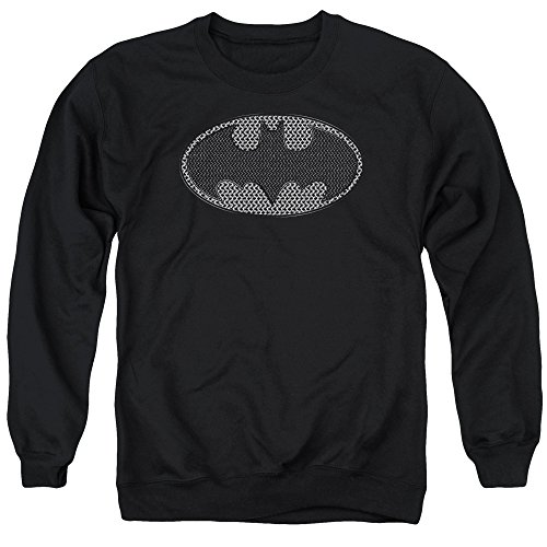 Unisex Chainmail - Batman Chainmail Shield Unisex Adult Crewneck Sweatshirt for Men and Women, Medium Black