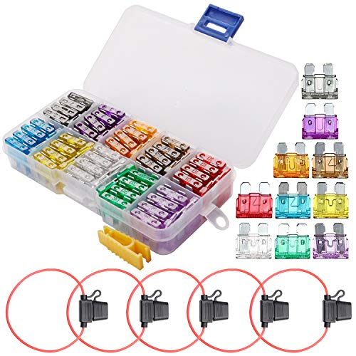FICBOX Car Blade Fuse Set 100pcs Standard Assorted Fuses + 5 Inline Fuse Holders Automotive Replacement Fuses for Car Truck SUV RV Boat (2/3/5/7.5/10/15/20/25/30/35 AMP)