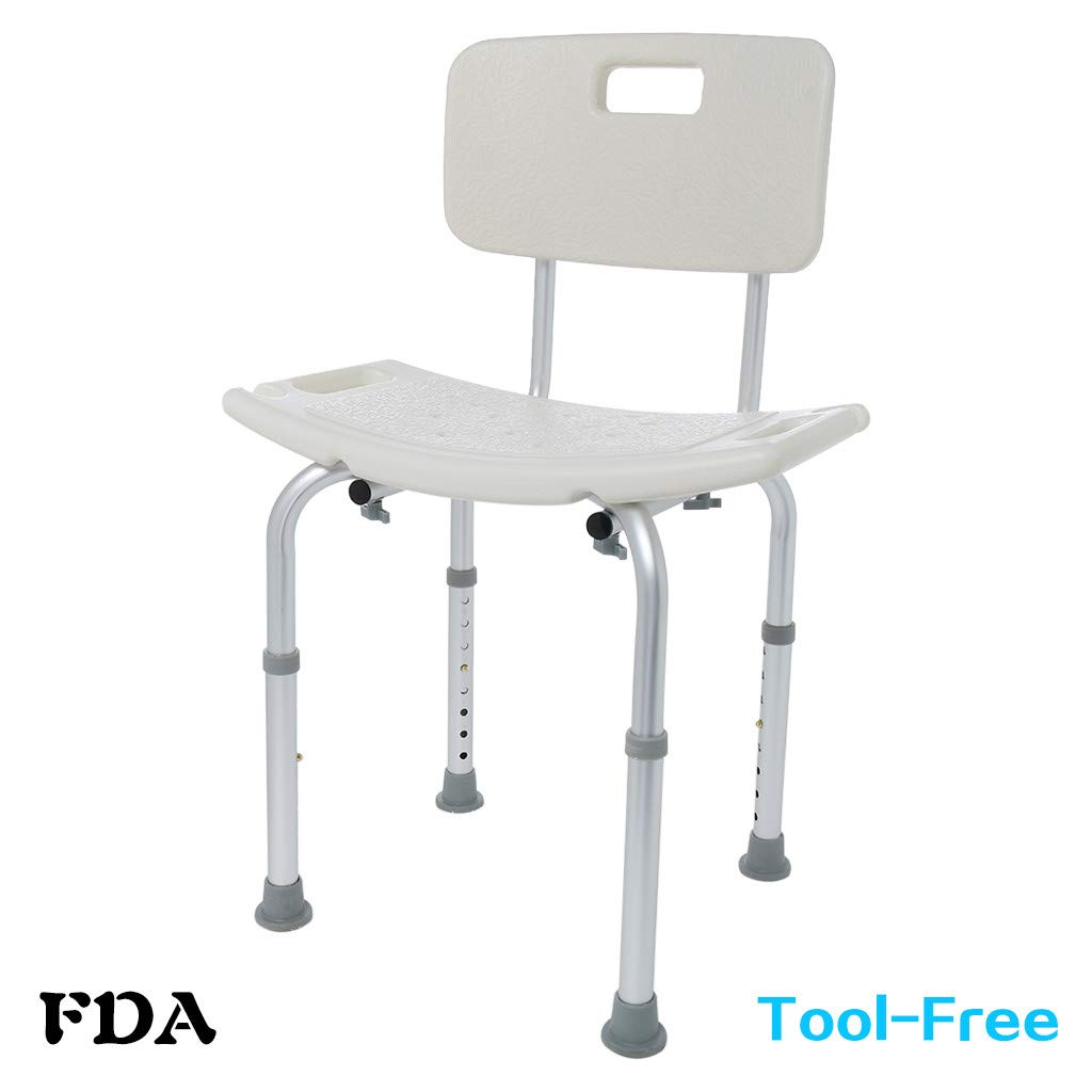 Cibee Shower Seats, Adjustable Height Slip-resistant Spa Bathtub Chair, Heavy Duty 250 Lbs, Medical Tool Back Support Bath Bench Stool for Elderly Handicap Seniors & Disabled (C)