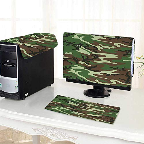 (Auraisehome Computer dust Cover American Commando Uniform Inspired Pattern Forest Tile Forest Green Light Green Brown dust Cover 3 Pieces Set /19