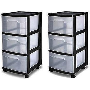 3 drawer organizer cart black plastic craft for Plastic craft storage drawers
