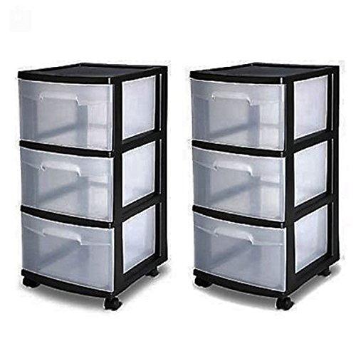 (3 Drawer Organizer Cart Black Plastic Craft Storage Container Rolling Bin Set 2)