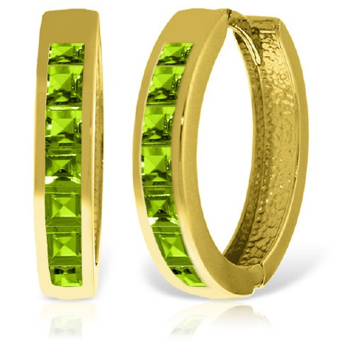 14k Yellow Gold Hoop Huggie Earring with Peridot