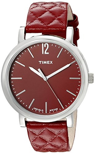 Timex Womens' Originals Matelasse | Red Dial & Textured Leather Strap TW2P71200