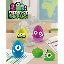 Mustard Free Range Markers, Egg Shaped Highlighters with Monsters Print, Pack of 4 (M16033D) by Mustard