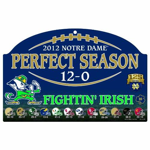 WinCraft NCAA Notre Dame Fighting Irish Perfect Season Wood Sign, 11 x 17-Inch (Fighting Ncaa Cut Precision Irish)