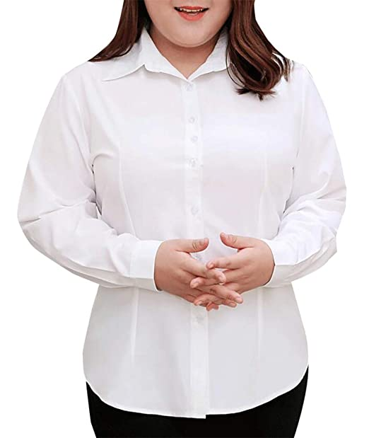 7a52fddc0 lovever Womens Business Office Formal Slim Fit Button Down Dress Shirt  White XXXL