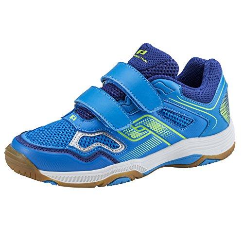Pro Touch Unisex-Kinder Indoor-Schuh Rebel Ii Jr. Klett Multisport Blau (Blue/Navy/Green Lime 000)