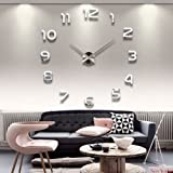 Soledi Fashion Large DIY 3D Wall Clock Mirror Effect Stickers Decal Frameless Number Figure Hours Home Room Mural Decor Art Craft Gift