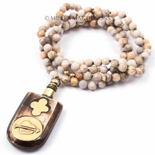 Vintage Bone and Brass Four Leaf Clover Perfume Bottle Pendant (Coral Clover Necklace)