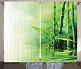 Green Curtains Ombre Asian Decor Bamboo Stalks Reflection on Water Blurs Freshness Japanese Decorative Zen Spa Pattern Living Room Bedroom Curtain 2 Panels Set Green