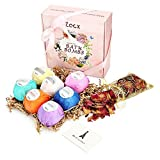 Zacx Bath Bombs Gift Set, 7 x 4.0 oz Vegan Natural Essential Oils + Dried Rose Petals + Greeting Card, lush Fizzy Spa Moisturizes Dry Skin, Bubble Baths, Best Gift Kit Ideas