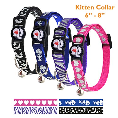 azuza Kitten Collar Breakaway, Quick Release Safe Buckle Adjustable Kitten Collars, Starry Night, Loving Heart, Fish Bones, Zebra, Pack of 4