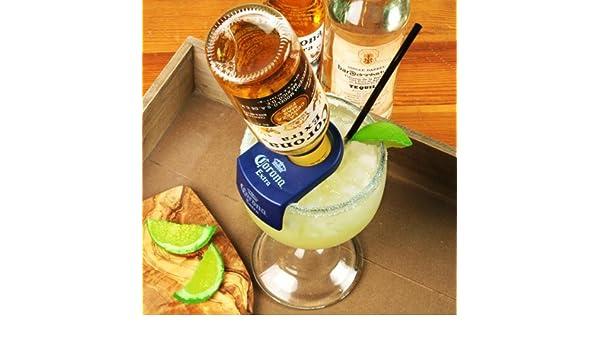 Soporte de pared para botellas CoronaRita y goleta de cristal | Set para preparar CoronaRita, CoronaRita de accesorios para cócteles | Corona Rita Clip con ...