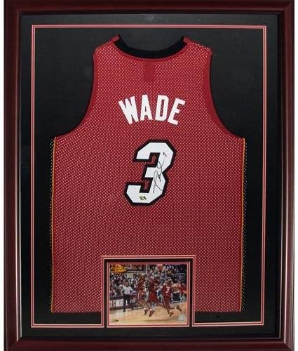 Dwyane Wade Autographed Miami Heat (Red #3) Deluxe Framed Jersey – DWADE Holo - Autographed NBA Jerseys