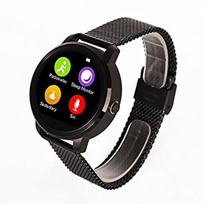 WildGuarder Smart Bluetooth V360 Watch Smartwatch with LED Display Barometer Alitmeter Music Player Pedometer for Android IOS Mobile Phone (Black)