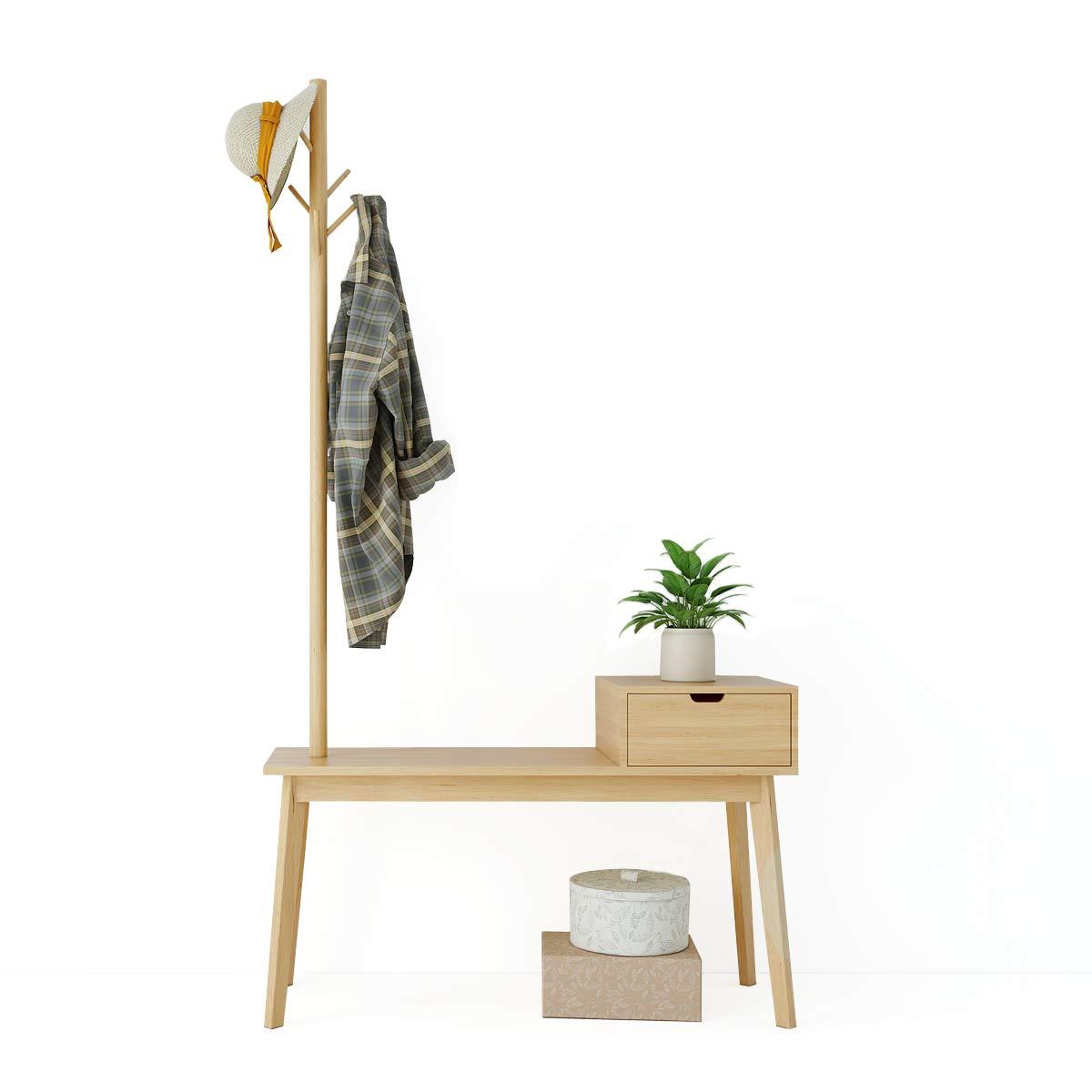 Perchero de madera de bambú