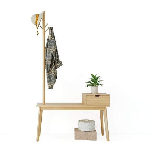 Happy Home Perchero de madera de bambú Estante para sombreros Independiente Estante para ropa con 5 ganchos, cajones y banco de zapatos para la ...