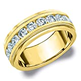 Eternity Wedding Bands 2CT Heritage Men's Diamond Ring in 14K Yellow Gold Satin Finish (H-I Color, I1-I2 Clarity) - Finger Size 10