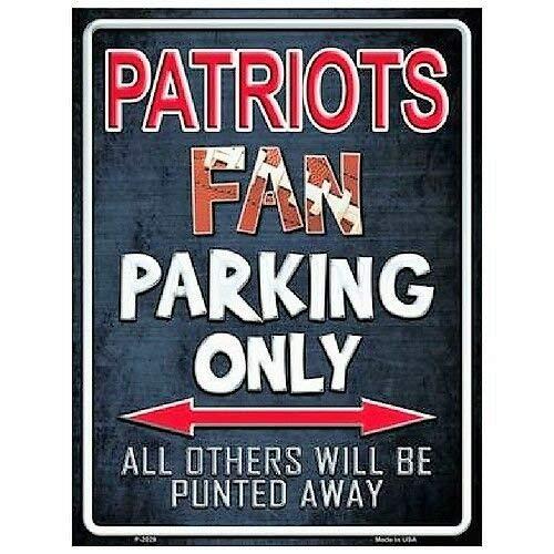 Brsh New England Patriots Fan Parking Only Novelty Metal Parking Sign 9 x 12 Aluminum Sign ()