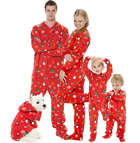 Footed Pajamas - Family Matching Red Christmas Onesies for Boys, Girls, Men, Women and Pets