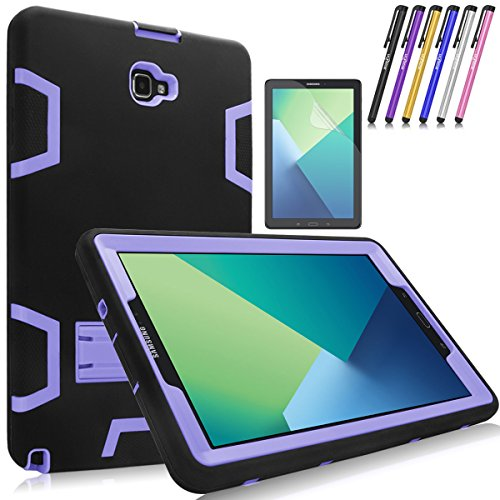 Mignova Heavy Duty Hybrid Protective Case with Build In Kickstand For Samsung Galaxy Tab A 10.1 with S Pen SM-P580 SM-P585 + Screen Protector Film and Stylus Pen (Black/Purple) ()
