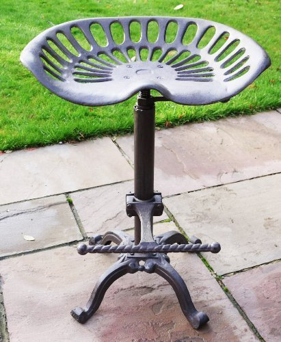 Brown Bar Stool Vintage Cast Iron Tractor Style Seat Adjustable Kitchen  Garden