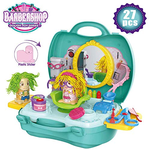 SPIEL Kids Play Dough Playset - 27 Pcs Crazy Cuts Barbershop Dough - Kids Razor Toys Barbershop