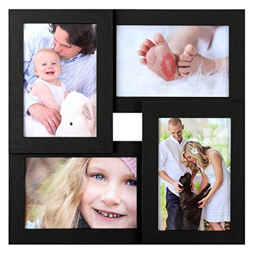 SONGMICS Collage Picture Frames, 4 x 6 Inches for 4 Photos, Picture Frames, Glass Front, Wood Grain Frame, Wall Hanging or Tabletop Stand, Black URPF25BK