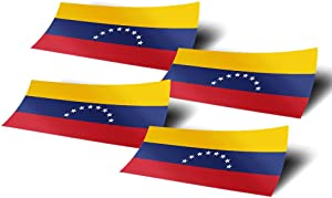 Venezuela 4 Pack of 4 Inch Wide Country Flag Stickers Decal for Window Laptop Computer Vinyl Car Bumper Venezuelan 4