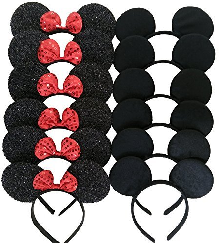 CHuangQi Mouse Ears Solid Black and Red Bow Headband for Boys and Girls Birthday Party or Celebrations (Pack of 12)