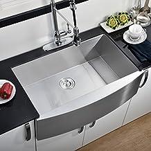 Comllen 304 Stainless Steel 33 Inch Farmhouse Kitchen Sink, Single Bowl 16 Gauge 10 Inch Deep Handmade Undermount Kitchen Apron Sink