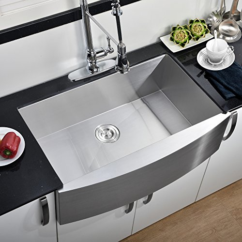 Kitchen Farm Sink (Comllen 30 Inch Handmade Apron Undermount Kitchen Sink, Single Bowl 16 Gauge Farmhouse 304 Stainless Steel Sink)