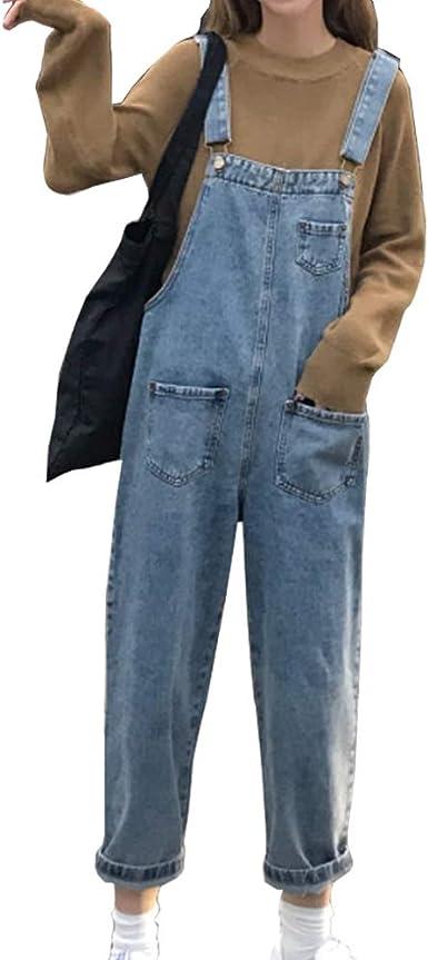 Moda Mujer Vaquero Mono, Morbuy Peto Largo Pantalones Casual Jeans ...