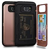 Galaxy S6 Case, TORU [S6 Wallet Case Rose Gold] Protective Slim Fit Dual Layer Hidden Credit Card Holder ID Slot Card Case with Mirror for Samsung Galaxy S6 (2015) - Rose Gold
